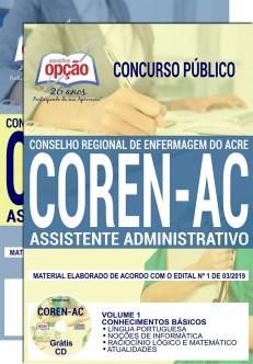 Apostila Concurso COREN AC 2019 PDF Assistente Administrativo