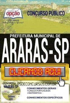 Apostila Concurso Prefeitura de Araras 2019 PDF Download e Impressa