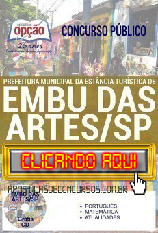 Apostila Concurso Prefeitura de Embu das Artes 2019 PDF Download e Impressa