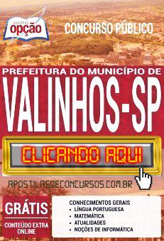 Apostila Concurso Prefeitura de Valinhos 2019 PDF Download e Impressa