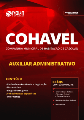 Apostila COHAVEL 2019 Grátis Cursos Online Auxiliar Administrativo