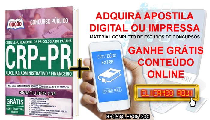 postila Concurso CRP PR 2019 PDF e Impressa Auxiliar Administrativo Financeiro Conteúdo Online Gratis