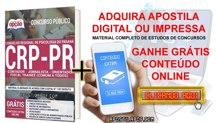 Apostila CRP PR 2019 PDF e Impressa Contador, Jornalista e Orientador Fiscal Trainee Conteúdo Online Gratis