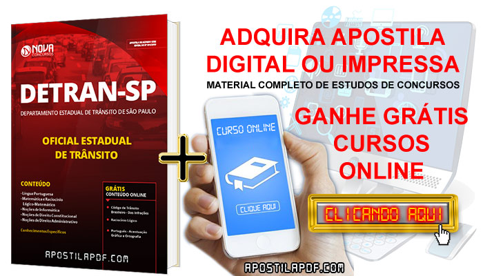 Apostila DETRAN SP 2019 Oficial Estadual de Trânsito PDF Impressa + Cursos Online Grátis