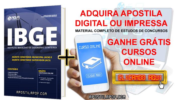 Apostila IBGE 2019 Agente Censitário PDF e Impressa Cursos Online Grátis