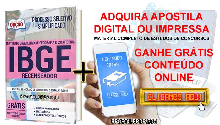 Apostila Concurso IBGE 2019 PDF e Impressa Recenseador Conteúdo Online Gratis