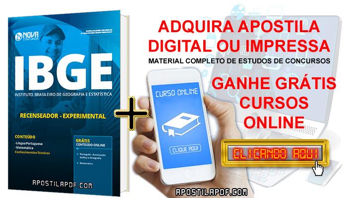 Apostila Concurso IBGE 2019 Recenseador PDF e Impressa Grátis Cursos Online