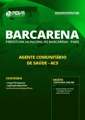 Apostila Prefeitura de Barcarena 2019 Agente Comunitário de Saúde PDF e Impressa