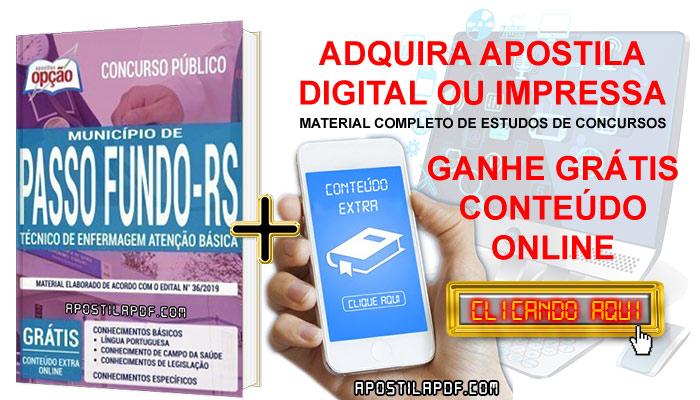 Apostila Prefeitura de Passo Fundo 2019 PDF e Impressa Técnico de Enfermagem Atenção Básica Conteúdo Online Gratis
