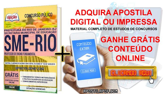 Apostila Concurso SME RJ 2019 PDF e Impressa Professor de Ensino Fundamental Conteúdo Online Gratis