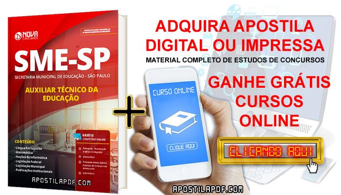 Apostila SME SP 2019 Auxiliar Técnico de Educação PDF e Impressa Cursos Online Grátis