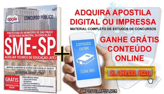 Apostila Concurso SME SP 2019 PDF e Impressa Auxiliar Técnico de Educação Conteúdo Online Grátis