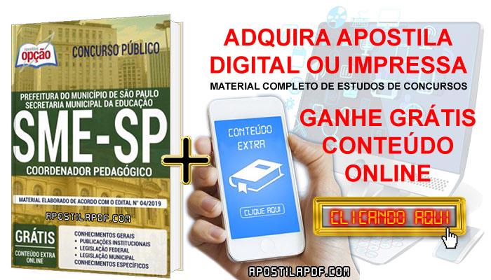 Apostila Concurso SME SP 2019 PDF e Impressa Coordenador Pedagógico Conteúdo Online Grátis