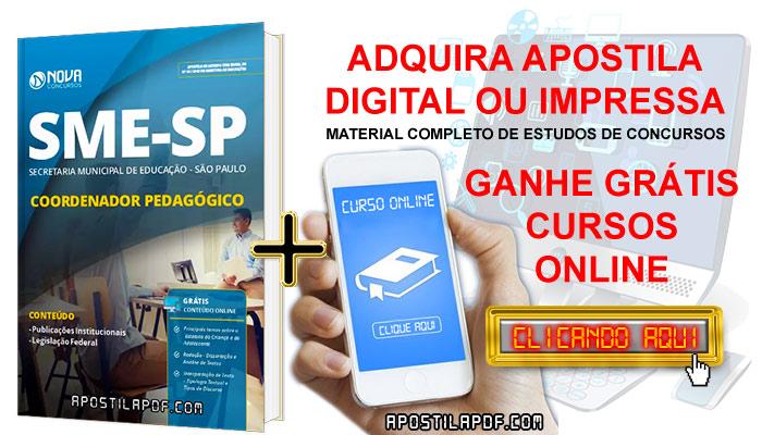 Apostila Concurso SME SP 2019 Coordenador Pedagógico PDF e Impressa Cursos Online Grátis