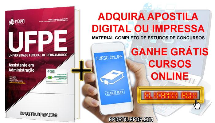 Apostila Concurso UFPE 2019 PDF Impressa Assistente em Administração Grátis Curso Online