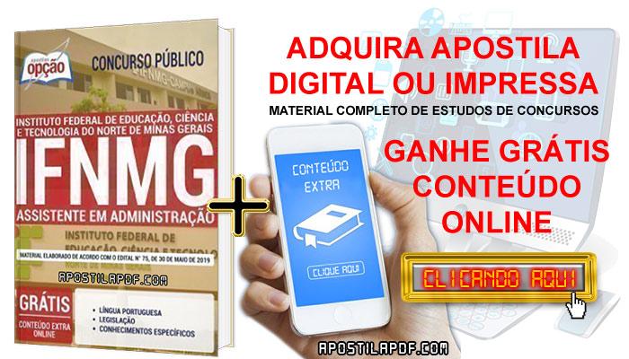 Apostila Concurso IFNMG 2019 PDF e Impressa Assistente em Administração Conteúdo Online Grátis