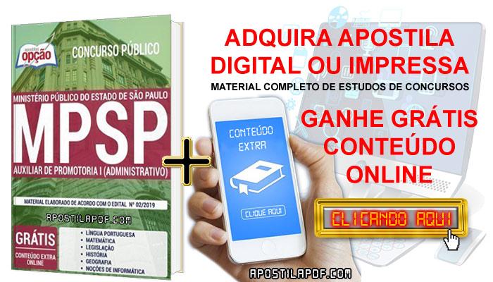 Baixar Apostila Concurso MP SP 2019 PDF Download Digital Auxiliar de Promotoria I Administrativo Conteúdo Online Grátis