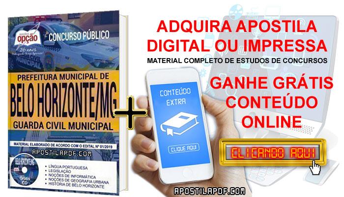 Apostila Concurso Prefeitura de Belo Horizonte 2019 PDF e Impressa Guarda Civil Municipal Conteúdo Online Grátis