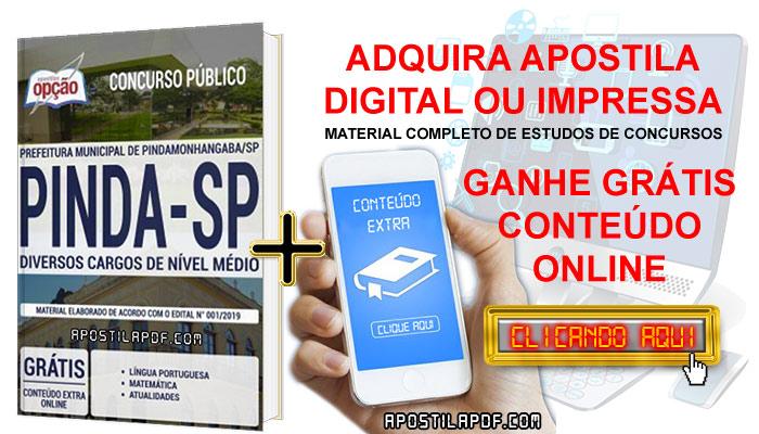 Apostila Concurso Prefeitura de Pindamonhangaba 2019 PDF e Impressa Conteúdo Online Grátis