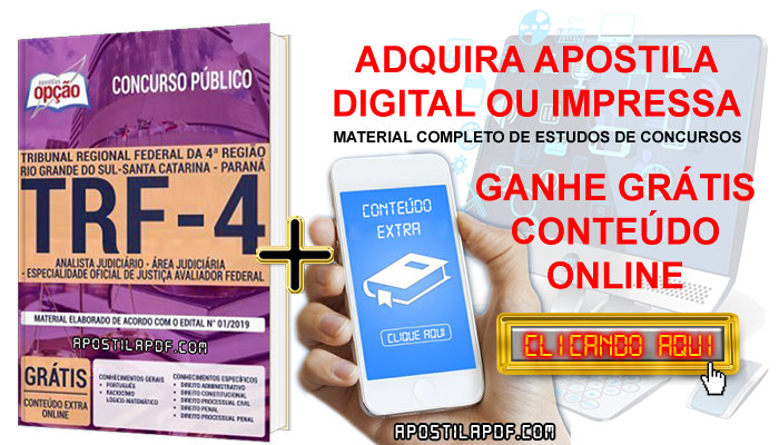 Apostila TRF 4 2019 PDF e Impressa Técnico Judiciário Área Administrativa Conteúdo Online Grátis