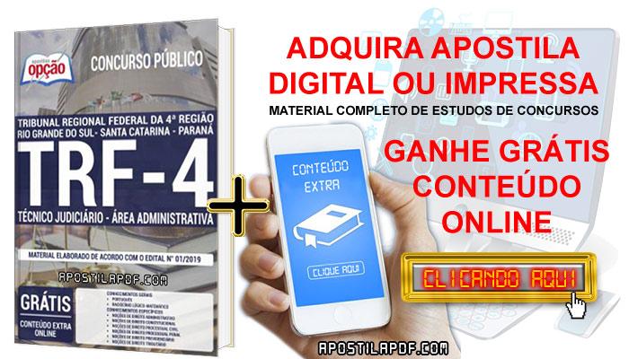 Apostila Concurso TRF 4 2019 PDF e Impressa Técnico Judiciário Área Administrativa Conteúdo Online Grátis
