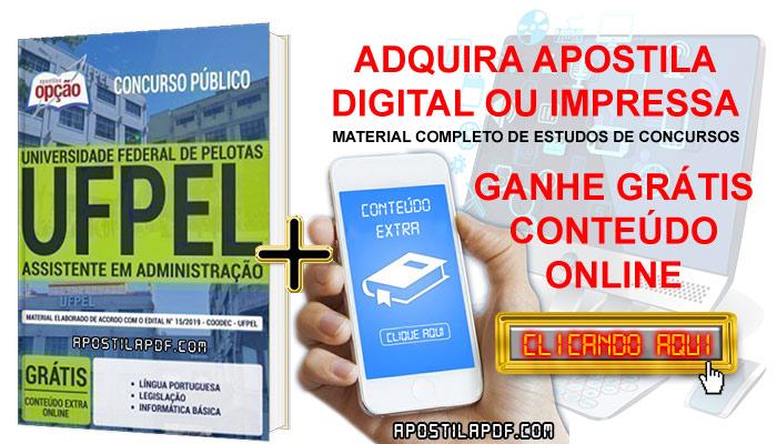 Apostila Concurso UFPEL 2019 PDF e Impressa Assistente em Administração Conteúdo Online Grátis