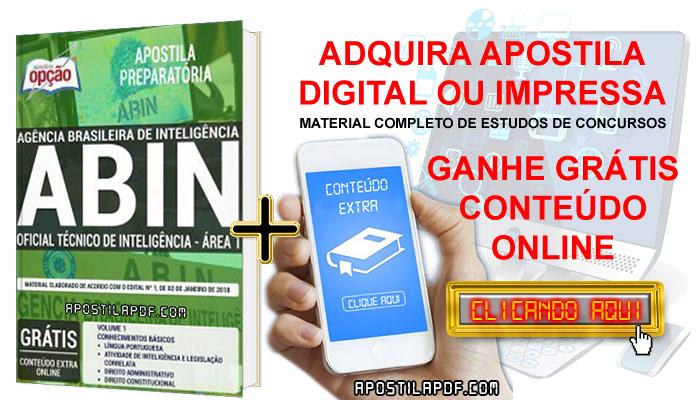Apostila Concurso ABIN 2019 PDF e Impressa Oficial Técnico de Inteligência Área 1 Conteúdo Online Grátis