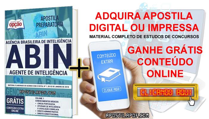 Apostila Concurso ABIN 2019 PDF e Impressa Agente de Inteligência Conteúdo Online Grátis