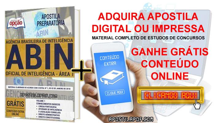 Apostila Concurso ABIN 2019 PDF e Impressa Oficial de Inteligência Área 1 Conteúdo Online Grátis