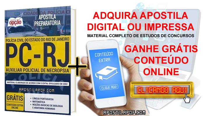 Apostila Concurso PC RJ 2019 PDF e Impressa Auxiliar Policial de Necropsia Conteúdo Online Grátis