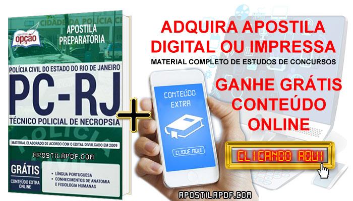 Apostila Concurso PC RJ 2019 PDF e Impressa Técnico Policial de Necropsia Conteúdo Online Grátis