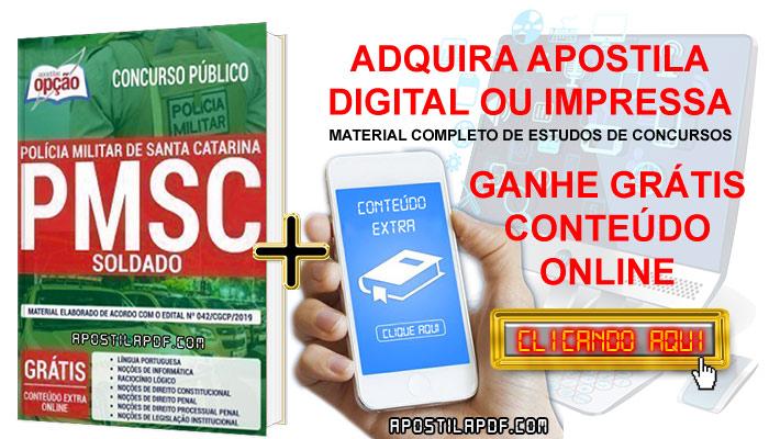 Apostila Concurso PM SC 2019 PDF e Impressa Soldado Conteúdo Online Grátis