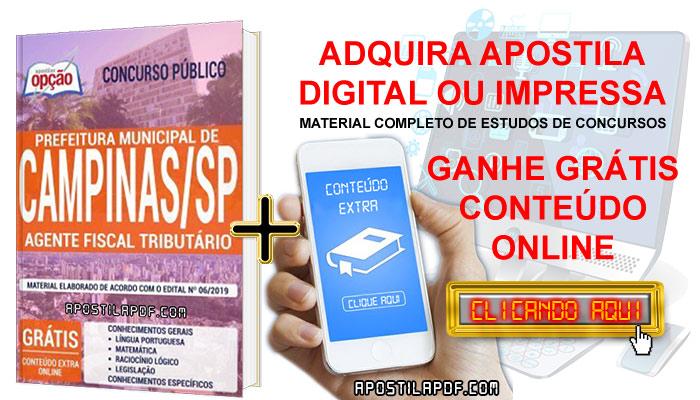 Apostila Concurso Prefeitura de Campinas 2019 PDF e Impressa Agente Fiscal Tributário Conteúdo Online Grátis