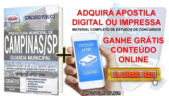 Apostila Concurso Prefeitura de Campinas 2019 PDF e Impressa Guarda Municipal Conteúdo Online Grátis