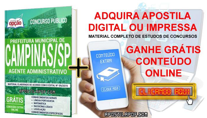 Apostila Concurso Prefeitura de Campinas 2019 PDF e Impressa Agente Administrativo Conteúdo Online Grátis