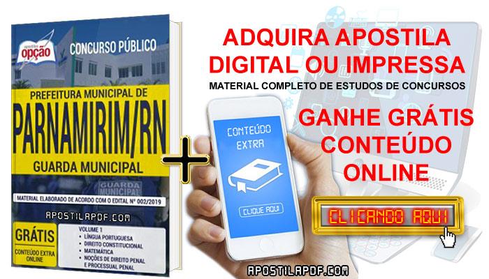 Apostila Concurso Prefeitura de Parnamirim 2019 PDF e Impressa Guarda Municipal Conteúdo Online Grátis