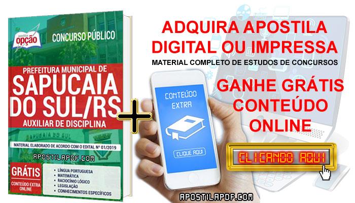 Apostila Concurso Prefeitura de Sapucaia do Sul 2019 PDF e Impressa Auxiliar de Disciplina Conteúdo Online Grátis