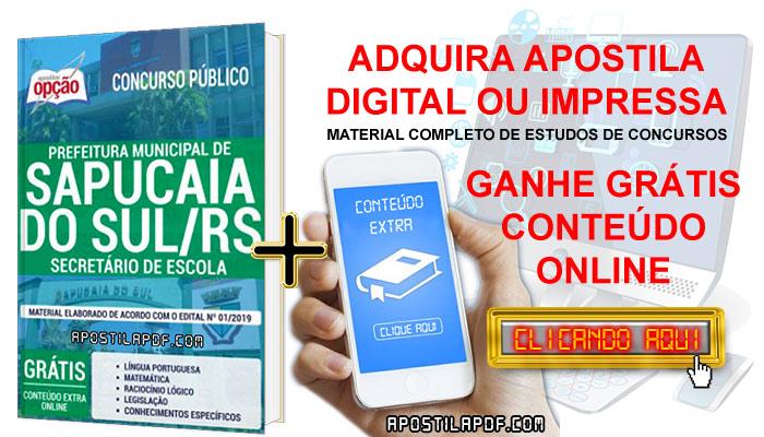 Apostila Concurso Prefeitura de Sapucaia do Sul 2019 PDF e Impressa Secretário de Escola Conteúdo Online Grátis