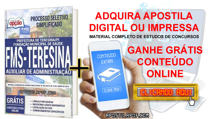 Apostila Concurso Prefeitura de Teresina 2019 PDF e Impressa Auxiliar de Administração Conteúdo Online Grátis