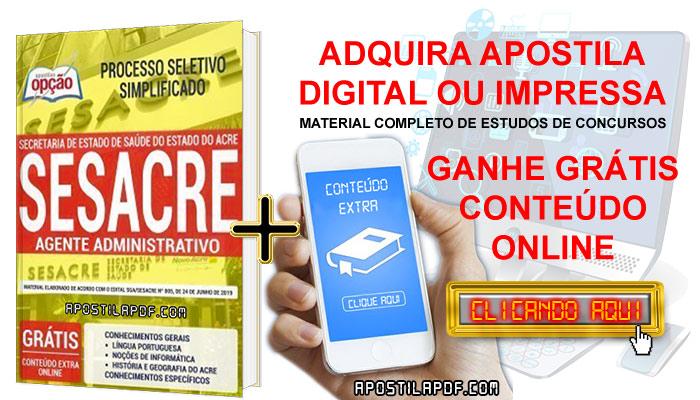 Apostila Concurso SESACRE 2019 PDF e Impressa Agente Administrativo Conteúdo Online Grátis