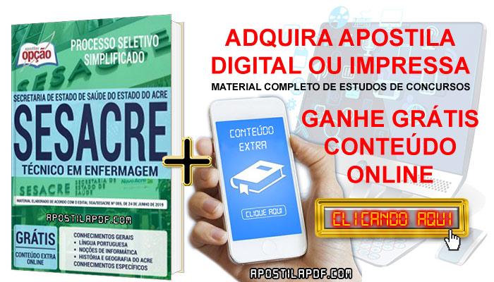 Apostila Concurso SESACRE 2019 PDF e Impressa Técnico em Enfermagem Conteúdo Online Grátis