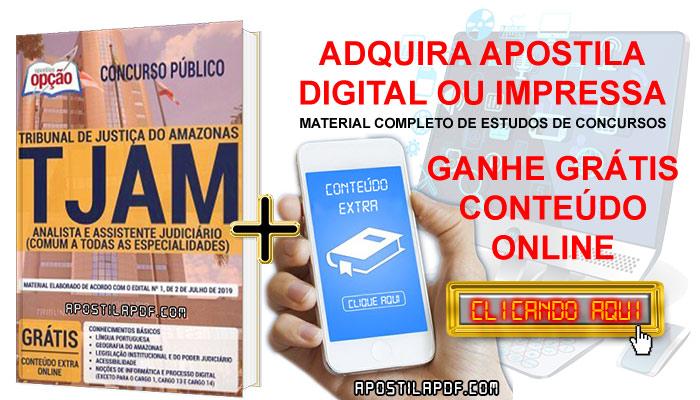 Apostila Concurso TJ AM 2019 PDF e Impressa Analista e Assistente Judiciário Conteúdo Online Grátis