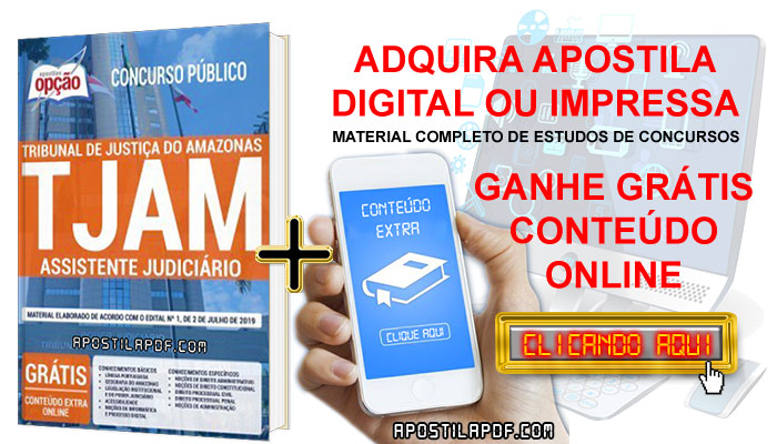 Apostila Concurso TJ AM 2019 PDF e Impressa Assistente Judiciário Conteúdo Online Grátis