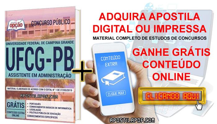 Apostila Concurso UFCG PB 2019 PDF e Impressa Assistente em Administração Conteúdo Online Grátis