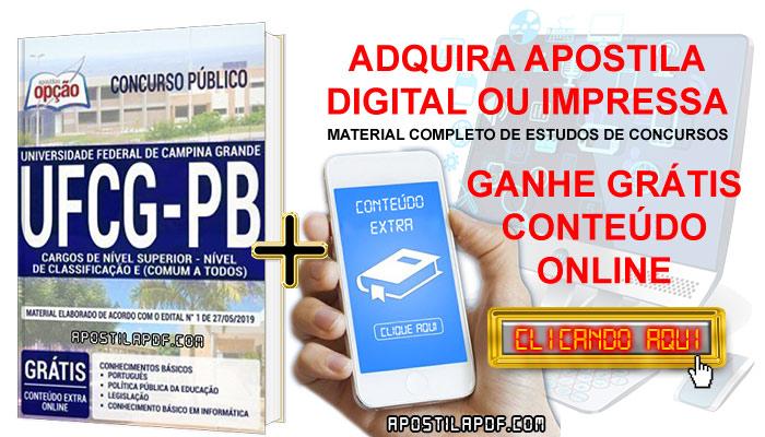 Apostila Concurso UFCG PB 2019 PDF e Impressa Cargos de Nível Superior Conteúdo Online Grátis