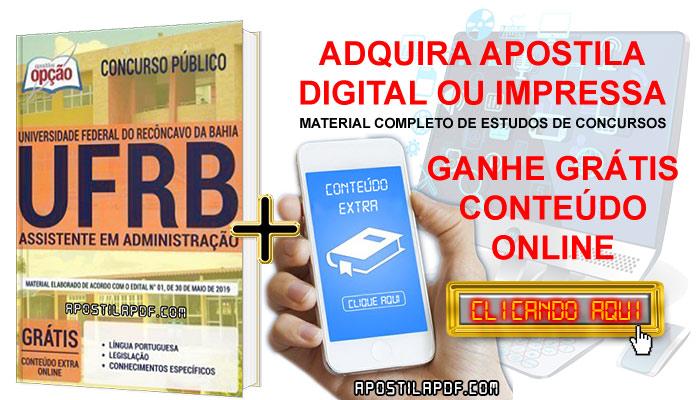 Apostila Concurso UFRB 2019 PDF e Impressa Assistente em Administração Conteúdo Online Grátis