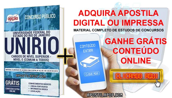 Apostila Concurso UNIRIO 2019 PDF e Impressa Cargos de Nível Superior Conteúdo Online Grátis