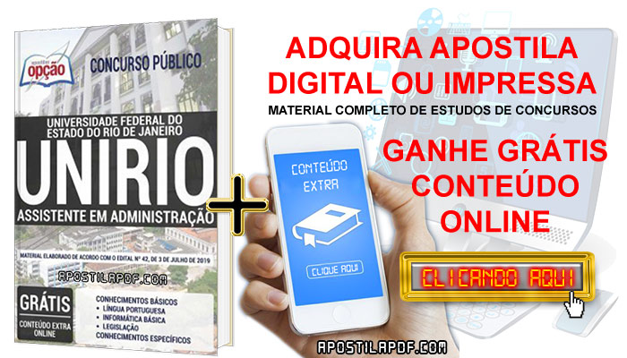 Apostila UNIRIO 2019 PDF e Impressa Assistente em Administração Conteúdo Online Grátis
