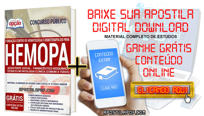 Baixar Apostila Concurso HEMOPA 2019 PDF Assistente Social, Farmacêutico Bioquímico e Técnico em Patologia Clínica