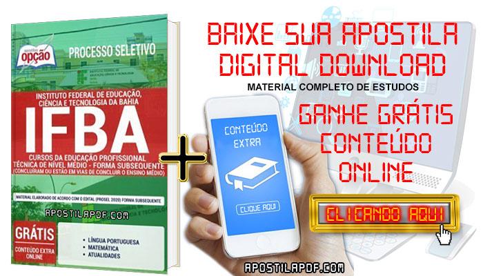Baixar Apostila Concurso IFBA 2019 PDF Cursos da Educação Profissional Técnica de Nível Médio